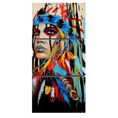 Native American Indian Canvas Wall Art Paintings Woman Girl Colorful Feathered Print Paintings Wall Poster Picture for Living Room Bedroom Office Hotel Cafe Home Walls Decoration, 16x 24