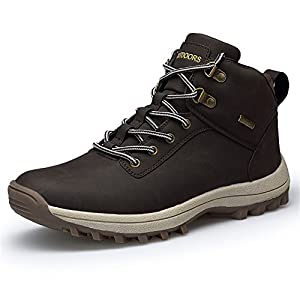 LUWELL Mens Warm Lace Up Boots Winter Autumn Ankle Martin Boot Work Hiking Trail Biker Sneaker Shoes (572-1dark Brown,45)