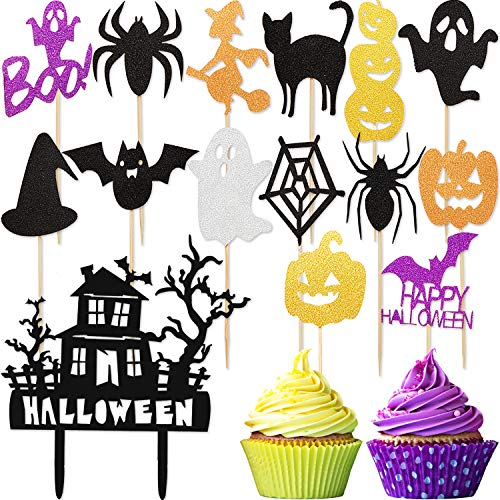 29 Pieces Halloween Cake Topper Set, Include Spook House Cake Topper and 28 Pieces Halloween Cupcake Toppers for Halloween Party -