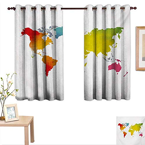 Map Thermal Insulating Blackout Curtain Continents of World in Vibrant Watercolors Artistic Graphic Design International Theme 55