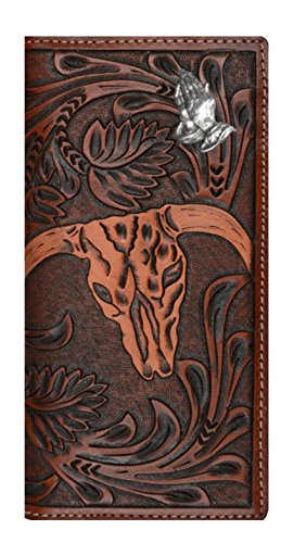 Checkbook Skull Long Brown Tan Belt Company Hands Cow Long Custom New 3D Wallet Praying and 08wn76