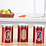 Kitchen Storage Canister Set Organization Canisters Great for Home Counter and Decor (3, Red)