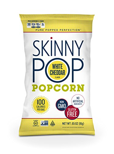 SkinnyPop Popcorn, 100 Calorie Bags, White Cheddar, 0.65 Ounce (Pack of 30)