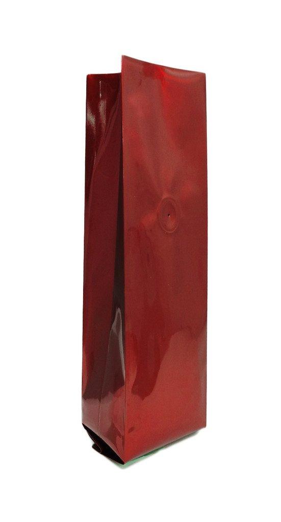 16 oz. Red Foil Gusseted Bag w/ Valve (Coffee Packaging, Tea Packaging)