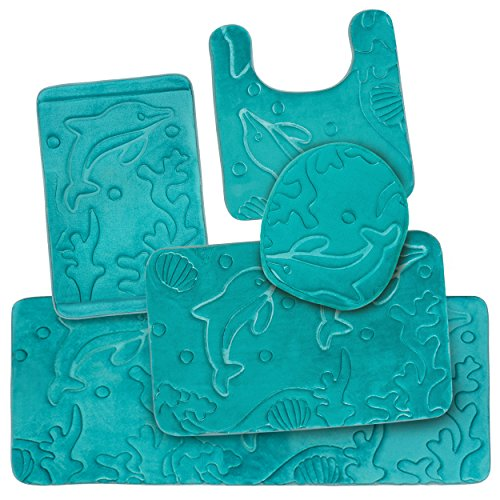 5 Piece Bathroom Rugs Set - Soft Non Slip Memory Foam Large Bathroom Mats - Perfect Combination of Luxury and Comfort - Teal Dolphins