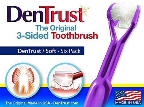6 Pack : DenTrust Toothbrush : SOFT : Surround Design : Quick and Complete Brushing