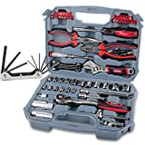 Hi-Spec 67 Piece SAE Auto Mechanics Tool Set - Professional 3/8' Quick Release Offset Ratchet with 72 Teeth, 5/32' - 3/4' SAE Sockets Set, T-Bar, Extension Bar, Hand Tools & Screw Bits in Storage Case