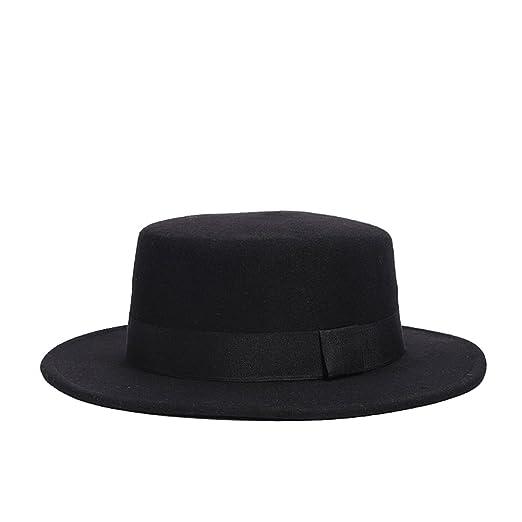1635d2ad695623 FloYoung Women's Brim Fedora Wool Flat Top Hat Church Derby Bowknot Cap  Black