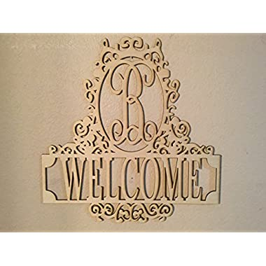Unfinished Wood Fancy Frame Welcome Vine Monogram in 17.5 Tall X 17 Inch Door Hanger