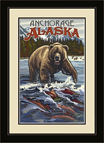 Northwest Art Mall PAL-7488 FGDM Anchorage Alaska Grizzly with Salmon Framed Wall Art by Paul A. Lanquist, 16