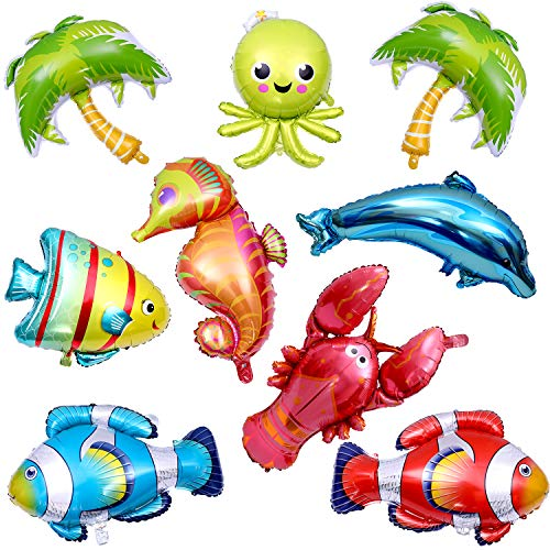 Chuangdi 9 Pieces Ocean Animals Balloons Large Animal