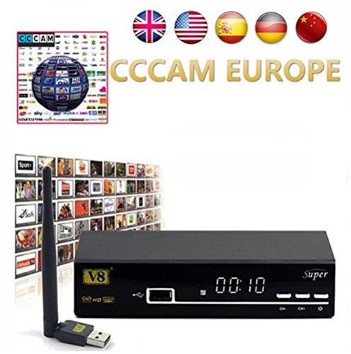 HD Satellite TV Receiver Full powervu, cccam, bisskey V8 Super DVB-S2 IPTV Satellite Receiver hot sale better than opennbox v8s (Skype Ready Blu Ray Player)