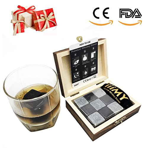 iiiMY Set of 9 Whiskey Stones Gift Natural Soapstone and Granite Chilling (Stylish Black Wooden Box)