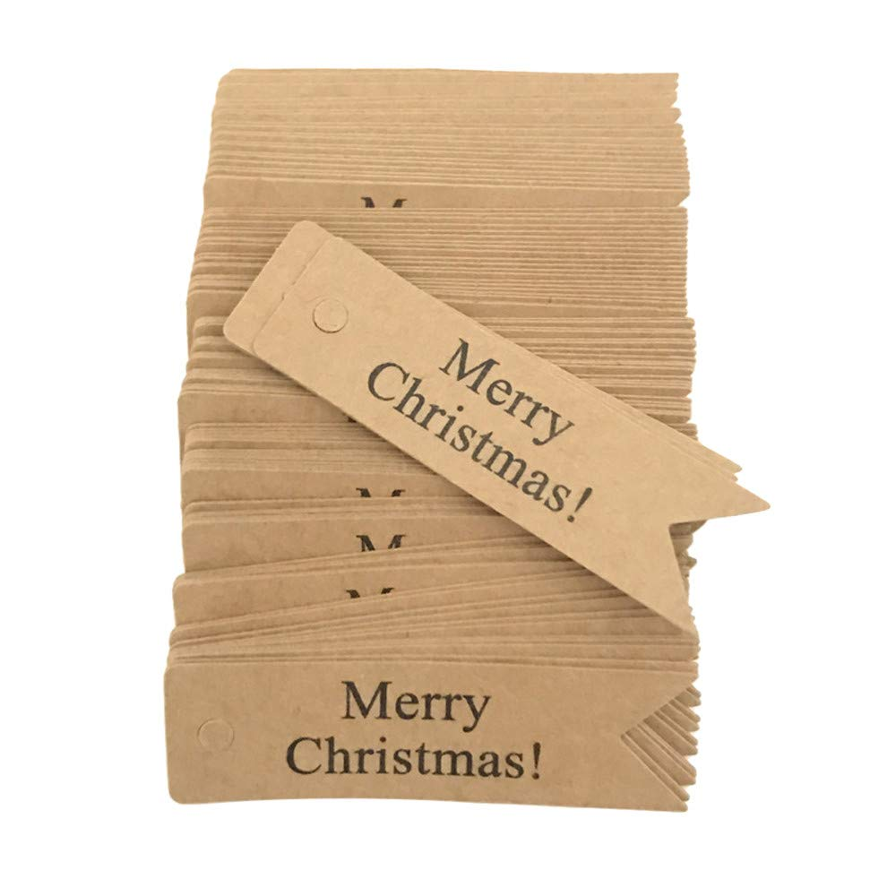 MomeChristmas Label100pcs Merry Christmas Craft Paper Hang Tags Christmas Party Favor Label Price Xmas Gift Card Christmas Label Home Bedroom Hanging Pendants - Brown,Red (Brown)
