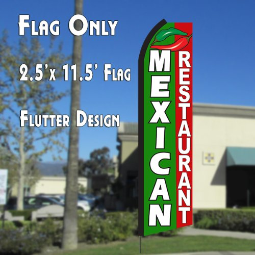 Cheap  MEXICAN RESTAURANT (Green/Red) Flutter Polyknit Feather Flag (11.5 x 2.5 feet)