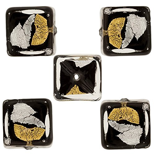 Murano Glass Cube Bead, 8mm Black with Patches of 24kt Gold and Sterling Silver Foil, 5 Pieces ()