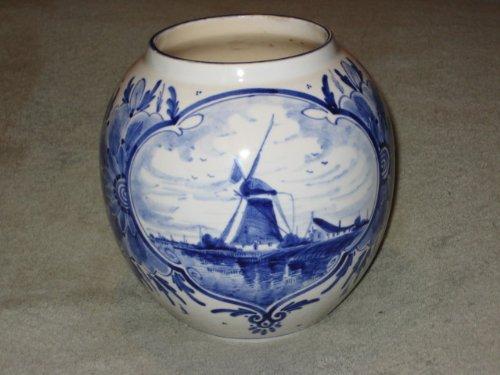 RARE Vintage Hand Painted Delft Blue Holland WINDMILL & FLORAL PATTERN Large 5 1/2 x 6 Inch Porcelain Vase (Holland Floral Vase)