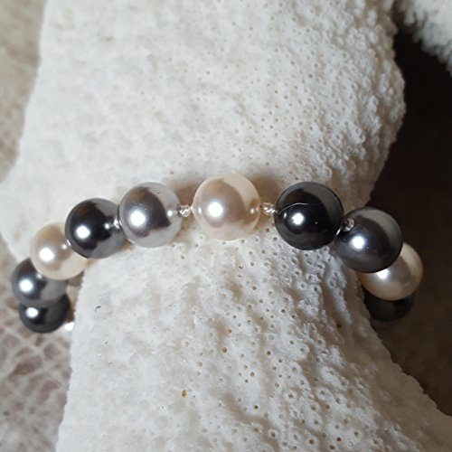 Multi colored Pearl Bracelet Hand Knotted 10mm Simulated Swarovski South Sea Pearls by Nature Inspired Living Made in the USA
