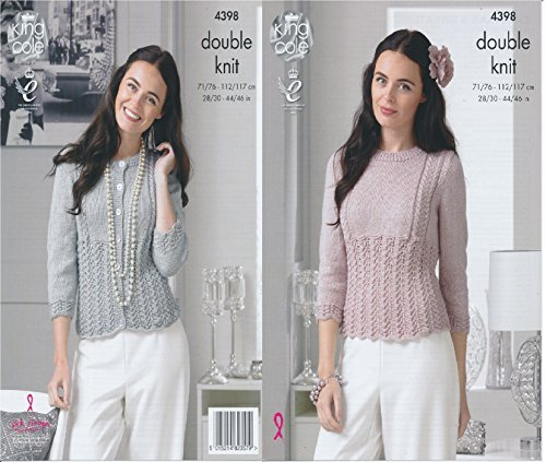 King Cole Ladies Double Knitting Pattern Womens Lace Effect Cardigan & Sweater Glitz DK (4398) by King Cole by King Cole