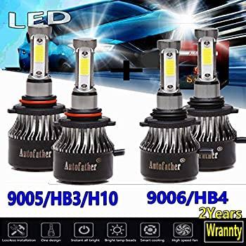 9005/HB3/H10 and 9006/HB4 LED Headlight Bulbs 6000K White High/Low Beam Combo Set 480W Super Bright for Chevrolet Silverado 1500 2500 (1999-2007) ...