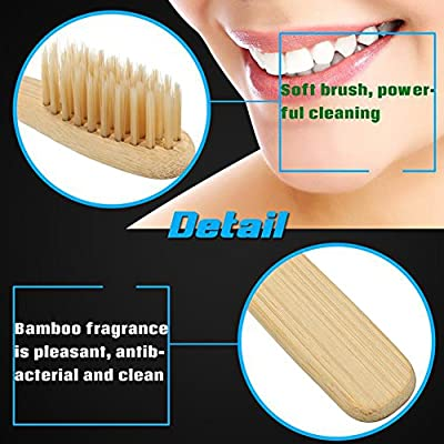 Bamboo Toothbrush Charcoal Infused Toothbrush 100% Organic and Biodegradable Wooden Soft Toothbrush Natural, BPA Free, Eco-Friendly For Adults