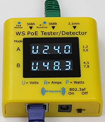 WS-PoE-Tester - Inline tester for power over ethernet, display from 20v to 56 volts, 0-5 amps, and actively used power in 802.3af, 802.3at and passive PoE at 10/100/1000 data rates