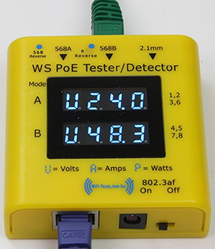 WS-PoE-Tester/Detector – Inline tester for power over ethernet, display from 20v to 56 volts, 0-5 amps, and actively used power in 802.3af, 802.3at and passive PoE at 10/100/1000 data rates