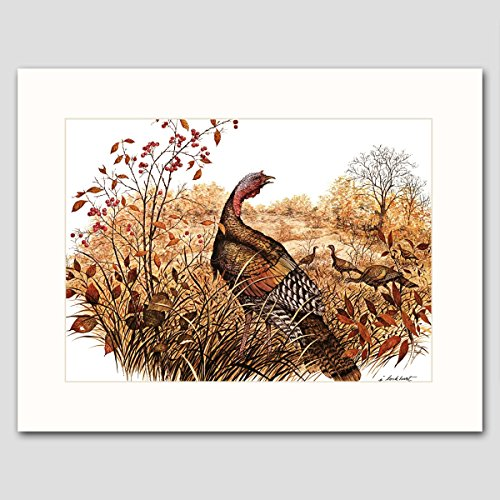 wild-turkey-art-w-mat-country-cabin-wall-decor-bird-artwork-late-autumn-forage-vintage-matted-print