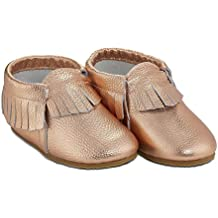 Baby Moccasins by Babe Basics -- Hard-Soled Genuine Leather Moccasins for Babies and Toddlers