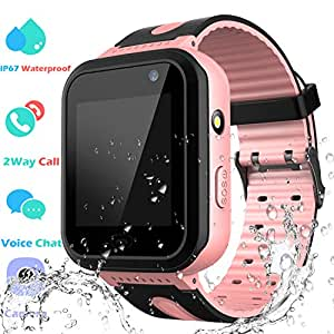Waterproof Smart Watch Phone Boys Girls - Kids Smartwatch Touchscreen Digital Watch with SOS 2 Way Call Voice Chat Camera Game Flashlight Alarm Clock Children Sports Wrist Watch Birthday
