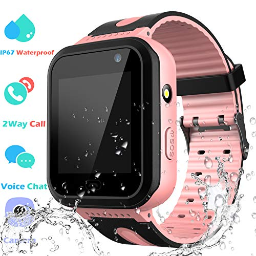 PTHTECHUS Waterproof Smart Watch Phone Boys Girls - Kids Smartwatch Touchscreen Digital Watch with SOS Voice Chat Camera Game Flashlight Alarm Clock Children Sports Wrist Watch Birthday Gifts (Pink)