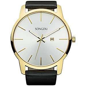 SONGDU Big Face Men's Gold Analog Date Stainless Steel Black Leather Strap Wrist Watch