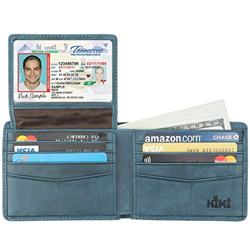 Wallet for Men-Genuine Leather RFID Blocking Bifold Stylish Wallet With 2 ID Window (Ocean Blue) (Making Leather Handbags And Other Stylish Accessories)