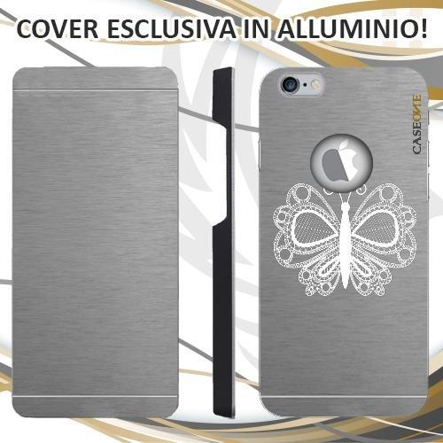CUSTODIA COVER CASE FARFALLA RICAMO PER IPHONE 6S ALLUMINIO TRASPARENTE