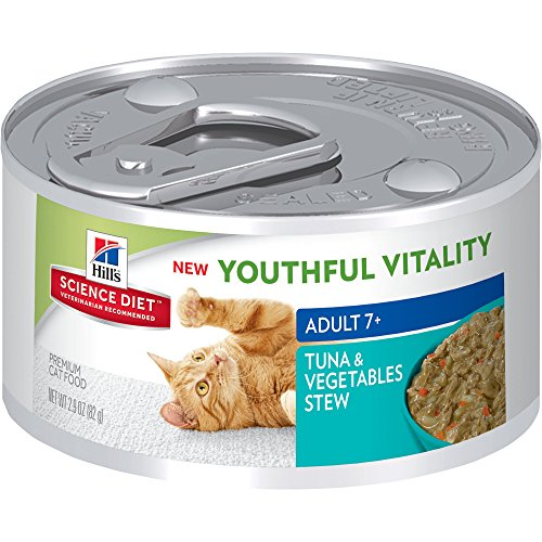 Hill's Science Diet Youthful Vitality Adult 7+ Tuna & Vegetable Stew Wet Cat Food, 2.9 oz.