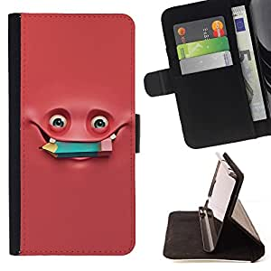 - Pink Monster Pencil Studying/ Personalized Design Custom Style PU Leather Case Wallet Flip Stand - Cao - For Samsung Galaxy J3