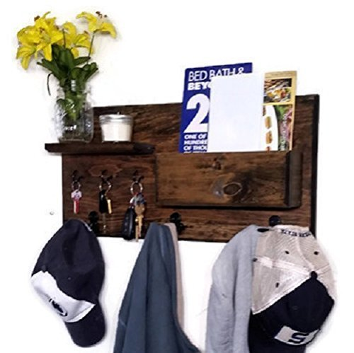 Renewed Décor Hamilton Elite Wall Mounted Organizer features 3 double coat hooks, 3 key hooks, display shelf along with a mail holder. Available in 20 Stains