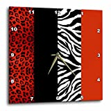 Janna Salak Designs Red Black and White Animal Print Leopard and Zebra Wall Clock, 10 by 10-Inch Review