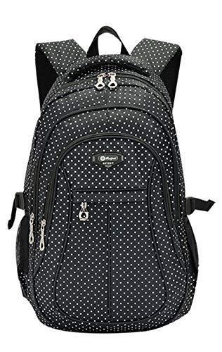 Girl Multipurpose Dot Primary Junior High University School Bag Bookbag Backpack (27 Liters, Black)