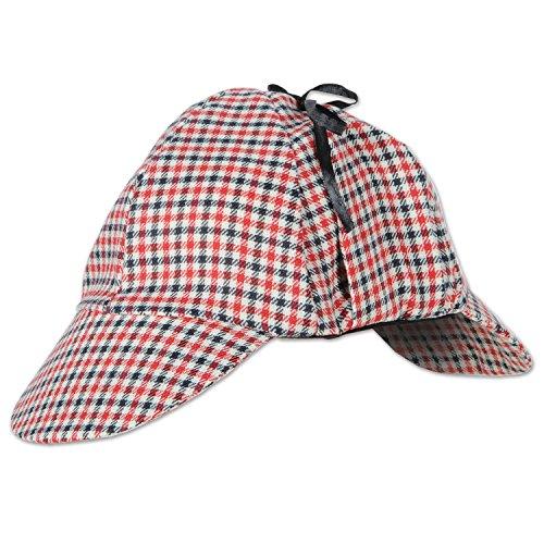 Beistle Club Pack Halloween Sherlock Holmes Deerstalker Hat, Box of 12 Costume Hats -