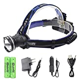 Waterproof Headlamp Flashlight Head lamp - Genwiss 3000 Lumens CREE XML T6 LED 3 Mode Zoom Focus Front Light Super Bright Torch include 4200mAh Battery ,Charger Camping Biking Hunting Fishing Riding