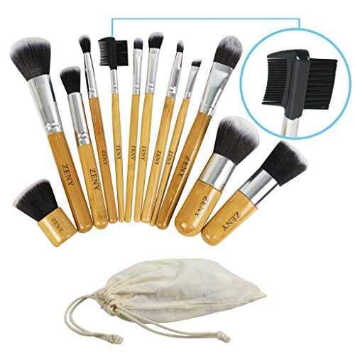 PCS Makeup Brush Set Cosmetic Brushes Make up Kit + Pouch Bag Wood (State University Cart Bag)