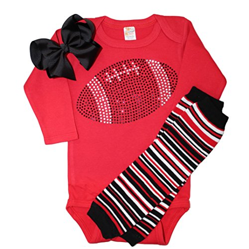 Infant/Baby Girl's Team Colored Rhinestone Black Football on a Red Outfit 0-3mo -