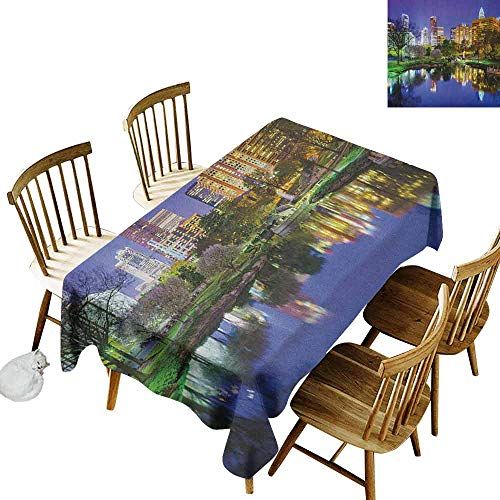DONEECKL City Easy to Clean Tablecloth Will not Fade North Carolina Marshall Park United States American Night Reflections on Lake Photo Multicolor W60 xL84