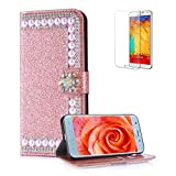 Funyye Pearl Rhinestone Rose Gold Leather Case for Samsung Galaxy J7 2018,Stylish 3D Diamond Buckle Flip Snap Wallet Case with Stand Credit Card Holder Slots for Samsung Galaxy J7 2018,Anti Scratch Full Body Soft Silicone PU Leather Case for Samsung Galaxy J7 2018 + 1 x Free Screen Protector