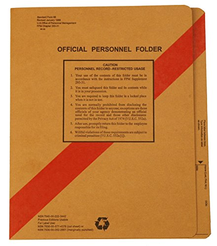 "Personnel Folders with 2 Fasteners, Straight Cut, Letter Size, Coated Fasteners, 3/4"" Expansion,17 pt Kraft (Pak/50)"