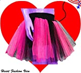 Plus Size Hot Pink Black Length 15 Two Layer Two Tone Stripe Tutu Skirt