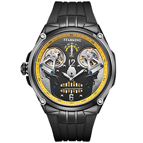 STARKING New Skull Watch Black Men Automatic AM0223 Yellow Double Tourbillon Waterproof 5ATM Luminous Hands Silicone Band Sapphire 47mm Halloween Gift]()