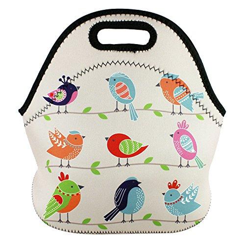 (Violet Mist New Insulated Neoprene Lunch Bag Tote Unicorn Cartoon Kids Girls Boys Outdoor Picnic Handbag Food Container Gourmet for School Work Office (Bird) )