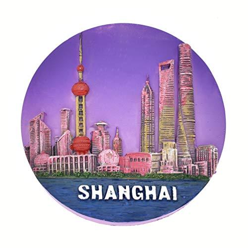 Towashine Shanghai China Round Resin Fridge Magnet Famous Tourist Souvenir Gifts Collection